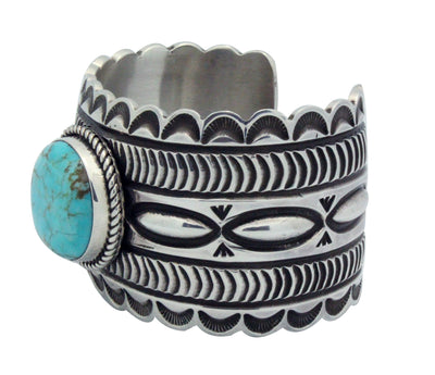 Load image into Gallery viewer, Alex Sanchez, Bracelet, Turquoise Mountain, Stamping, Navajo Handmade, 6.5
