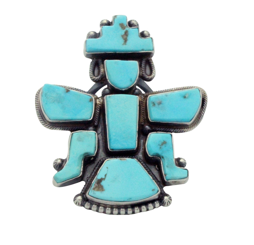Freddie Maloney, Betty Natachu, Ring, Zuni Knifewing, Turquoise, Handmade, 7