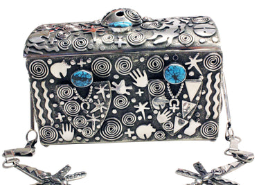 Load image into Gallery viewer, Alex Sanchez, Purse, Sterling Silver, Petroglyph Inspired, Navajo Made, 4.5