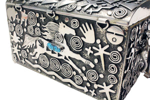 Alex Sanchez, Purse, Sterling Silver, Petroglyph Inspired, Navajo Made, 4.5