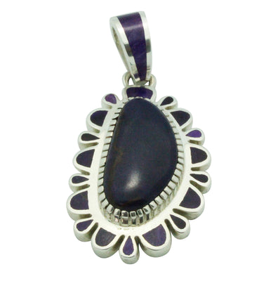 Load image into Gallery viewer, Vernon Haskie, Pendant, Purple Sugilite, Sterling Silver, Navajo Handmade, 2.75