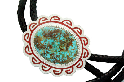 Load image into Gallery viewer, Vernon Haskie, Bolo, Pilot Mountain Turquoise, Mediterranean Coral, Navajo