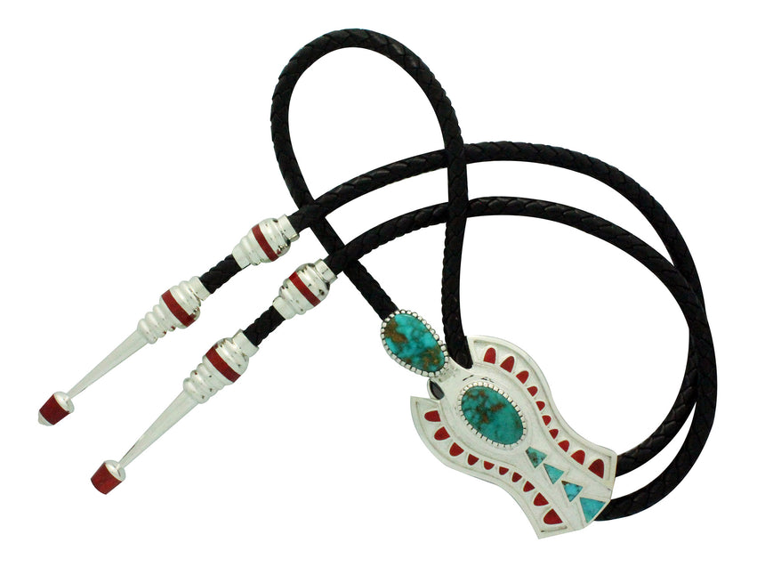 Vernon Haskie, Bolo, Ancient Figure, Kingman Turquoise, Coral, Navajo Made,
