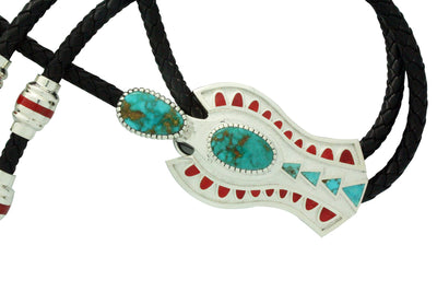 Load image into Gallery viewer, Vernon Haskie, Bolo, Ancient Figure, Kingman Turquoise, Coral, Navajo Made,