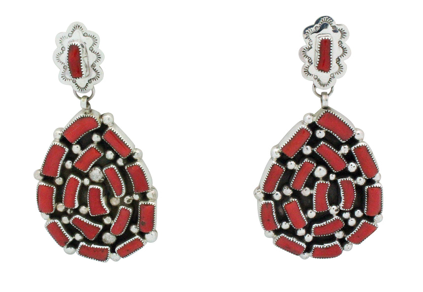 Kenneth Jones, Earrings, Mediterranean Coral, Silver, Navajo Handmade, 3