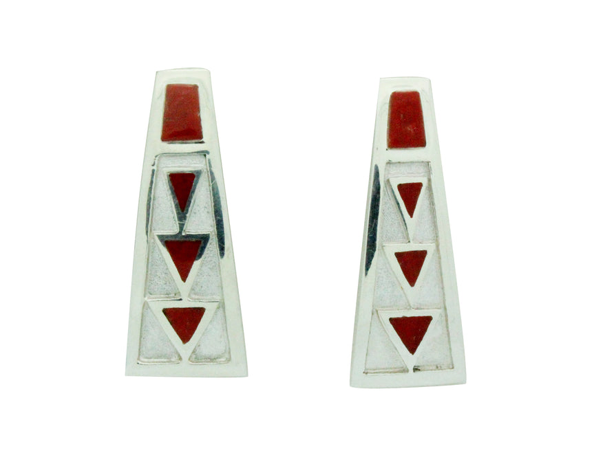 TJ Perry, Earrings, Sterling Silver Post, Mediterranean Coral, Navajo Made, 1.25
