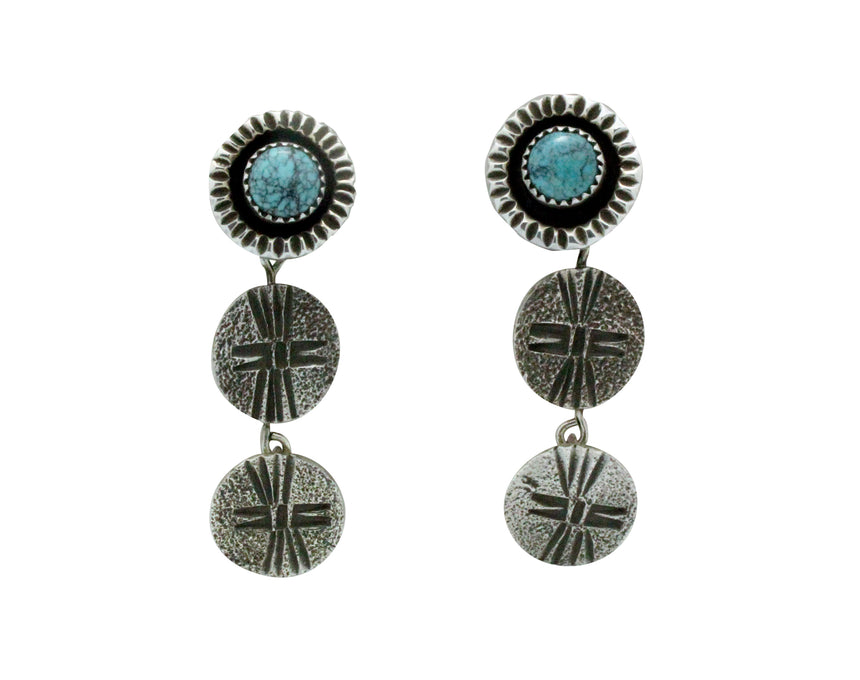 Bryan Tom, Earrings, Dangle Design, Turquoise, Navajo, San Felipe Handmade, 2.25