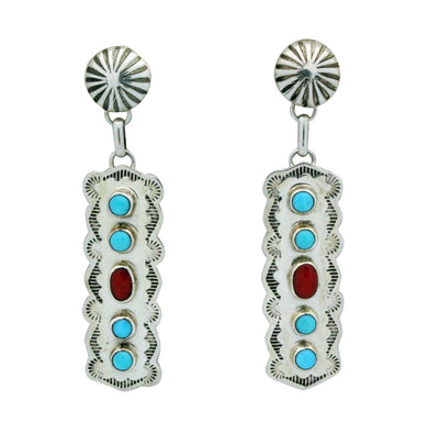 Load image into Gallery viewer, Jeffrey James Jr, Earrings, Dangle, Kingman Turquoise, Coral, Navajo Made, 2.5
