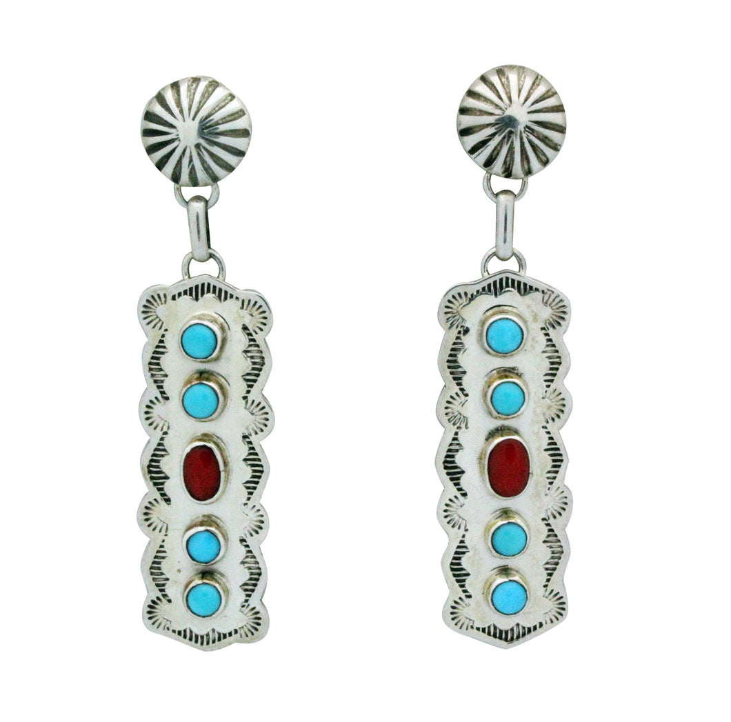 Jeffrey James Jr, Earrings, Dangle, Kingman Turquoise, Coral, Navajo Made, 2.5