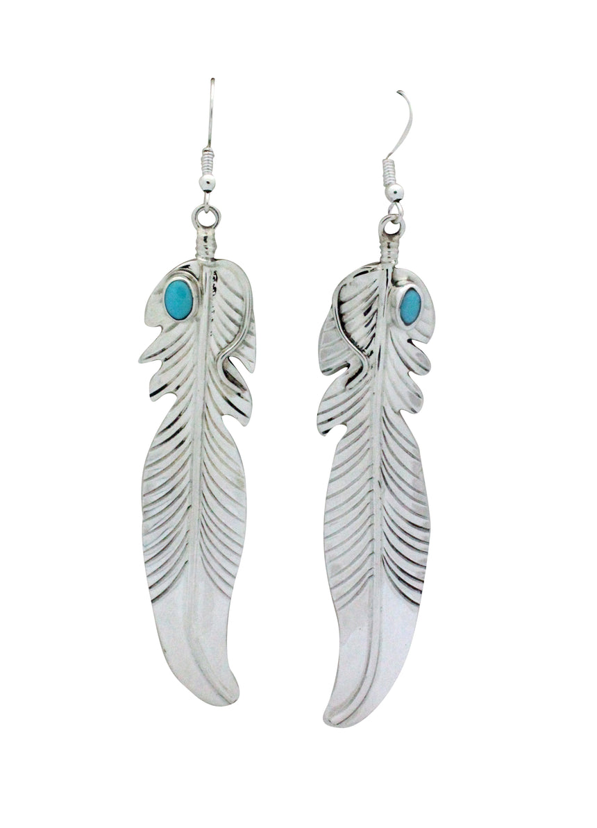 Jeff Largo, Dangle Earrings, Eagle Feather, Turquoise, Navajo Handmade, 4