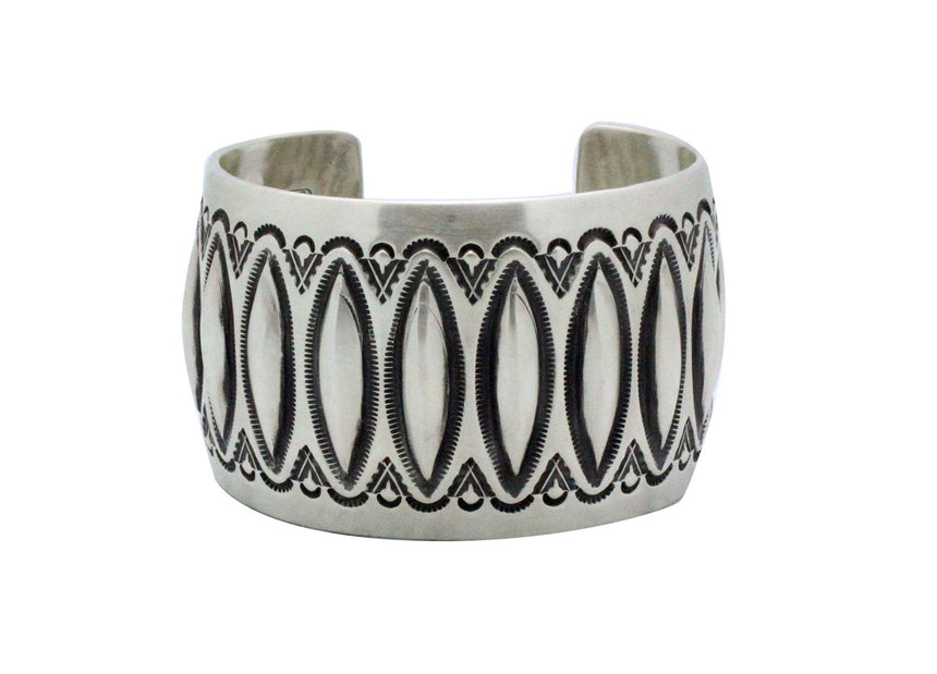 Aaron Toadlena, Bracelet, Stamping, Revival, Sterling Silver, Navajo Made, 7