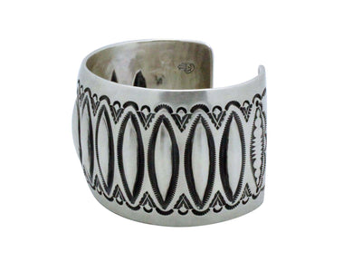 Load image into Gallery viewer, Aaron Toadlena, Bracelet, Stamping, Revival, Sterling Silver, Navajo Made, 7 3/8""