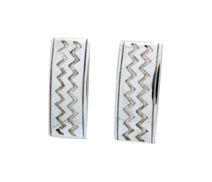 TJ Perry, Earrings, Sterling Silver Post, Double Lightning, Navajo Made, 1.5