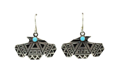 Load image into Gallery viewer, Aaron John, Earring, Turquoise, Thunderbird, Sterling Silver, Navajo Made, 1.4