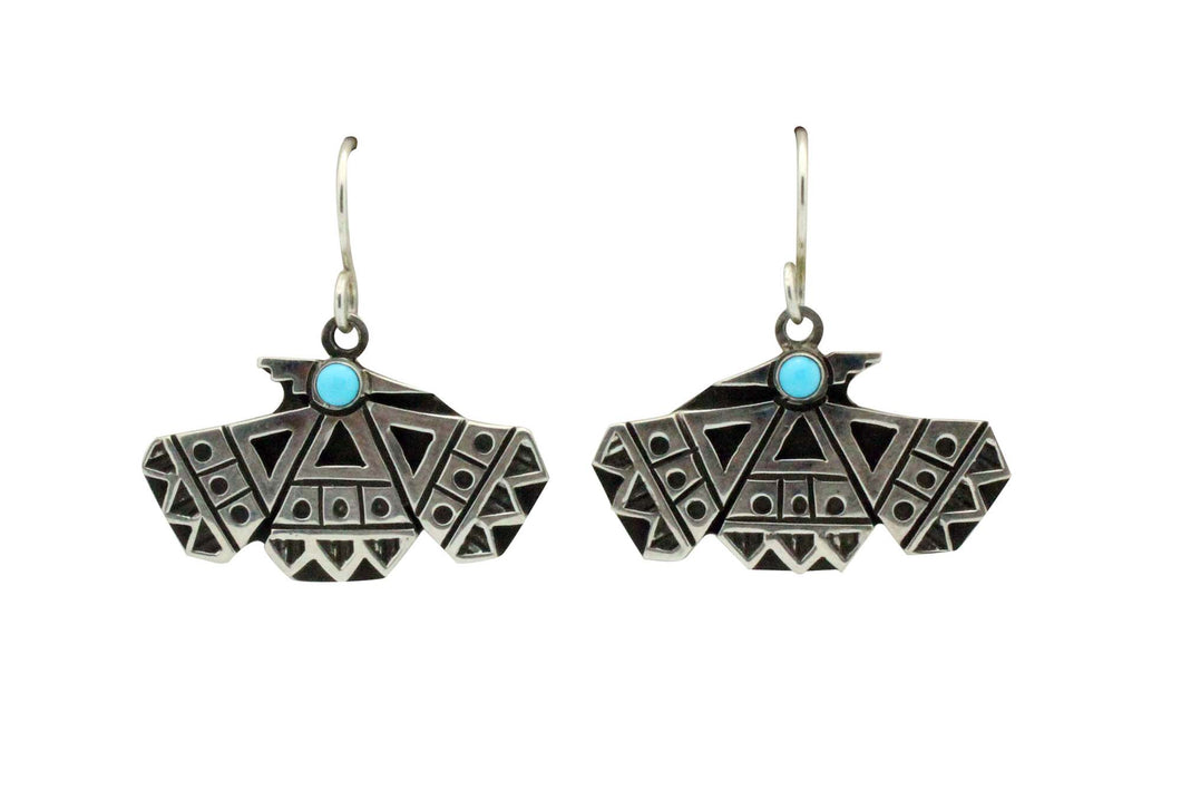 Aaron John, Earring, Turquoise, Thunderbird, Sterling Silver, Navajo Made, 1.4