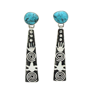 Load image into Gallery viewer, Alex Sanchez, Pierced Earrings, Symbols, Turquoise Mountain, Navajo Made, 3.25