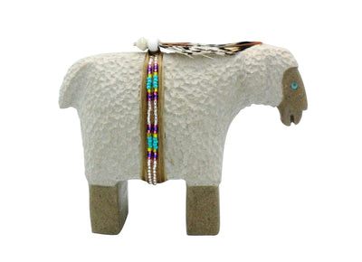 Load image into Gallery viewer, Harold Davidson, Sheep Fetish, Alabaster, Navajo Handmade, 3.5""