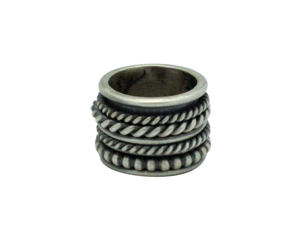 Melvin Francis, Ring, Wide, Sterling Silver, Spinners, Navajo Handmade, 5.5