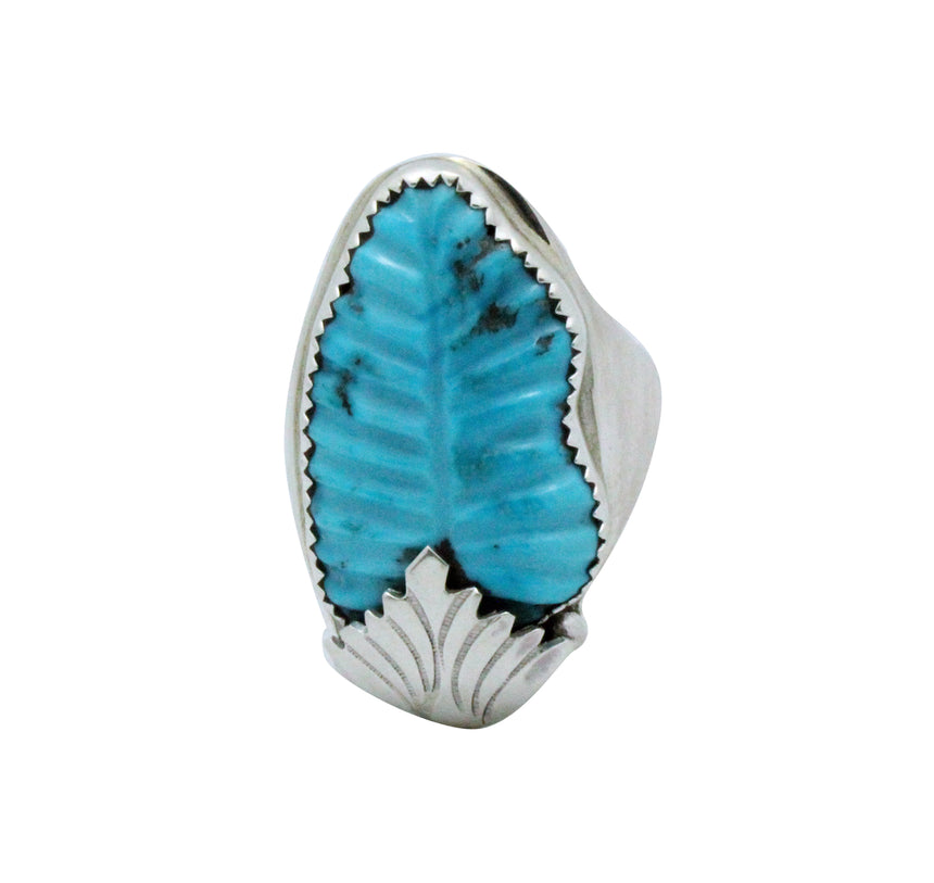 Lyolita Tsattie, Ring, Carved Sleeping Beauty Turquoise, Zuni Handmade, 14