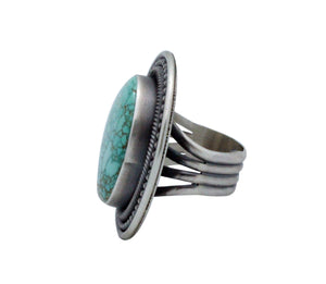 Ernest Roy Begay, Ring, Carico Lake Turquoise, Sterling Silver, Navajo Made, 8.5