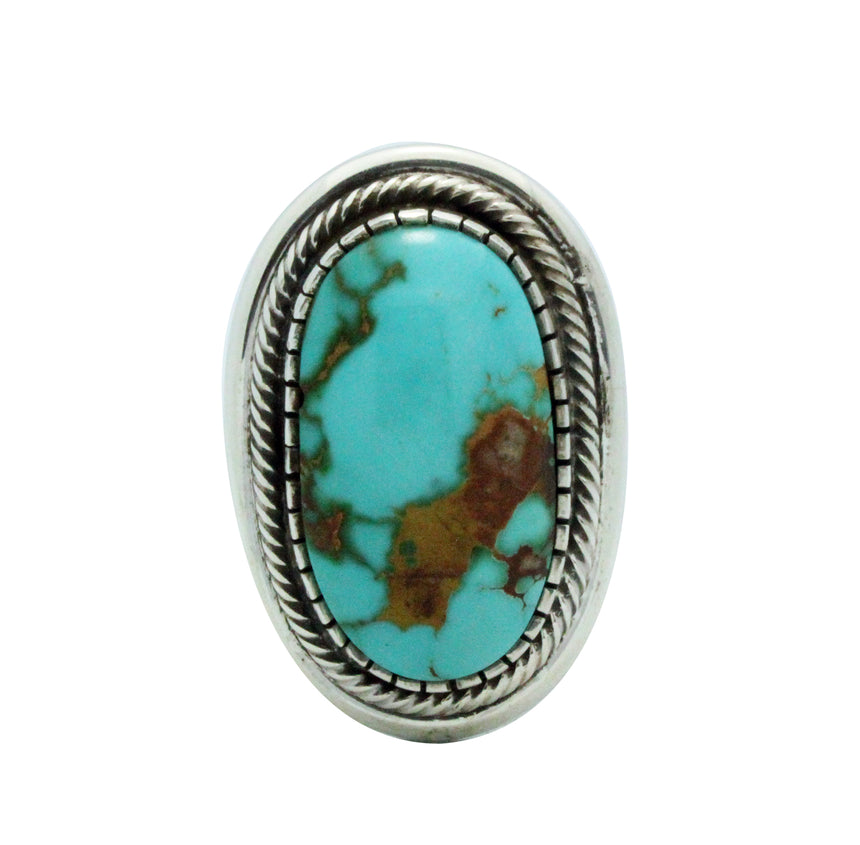 Leonard Nez, Ring, Royston Turquoise, Sterling Silver, Navajo Handmade, 12