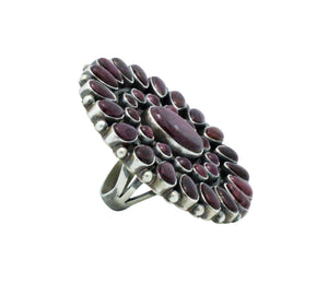 Anthony Skeets, Ring, Spiny Oyster Shell, Cluster, Silver, Navajo Handmade, 8