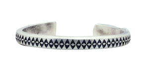 Calvin Martinez, Bracelet, Round Wire, Diamond Eye Stacker, Silver, Navajo Made, 6.5