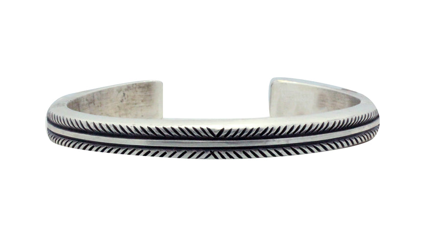 Calvin Martinez, Bracelet, Round Wire, Stamped Stacker, Silver, Navajo Made, 6.5