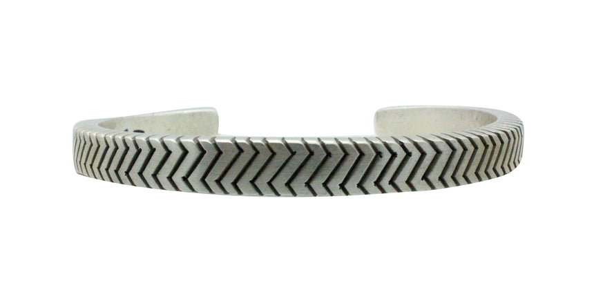 Calvin Martinez, Bracelet, Square Wire, Zig Zag Stacker, Silver, Navajo Made, 6 3/4
