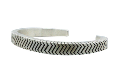 Load image into Gallery viewer, Calvin Martinez, Bracelet, Square Wire, Zig Zag Stacker, Silver, Navajo Made, 6.5
