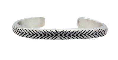 Load image into Gallery viewer, Calvin Martinez, Bracelet, Round Wire, Tread, Silver, Navajo Made, 6 3/4""