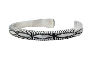 Calvin Martinez, Bracelet, Original Stamping, Revival Stacker, Navajo Made, 6 1/2""