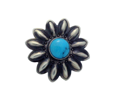 Load image into Gallery viewer, Julian Chavez, Ring, Kingman Turquoise, Flower Blossom, Navajo Handmade, 8.5