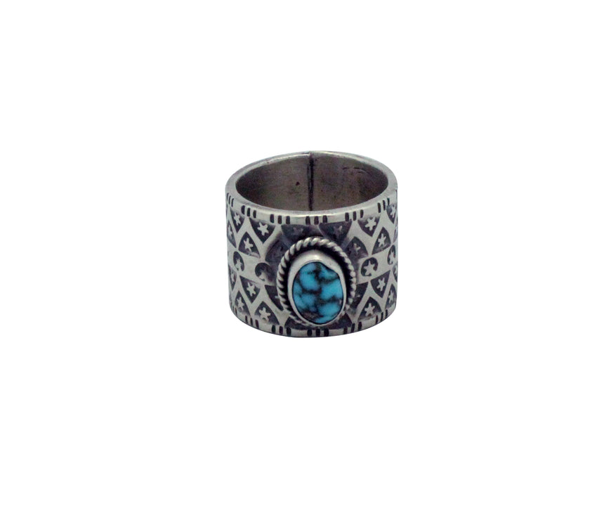 Bo Reeves, Ring, Number Eight Turquoise, Stamping, Silver, Navajo Handmade, 6.5