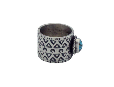 Load image into Gallery viewer, Bo Reeves, Ring, Number Eight Turquoise, Stamping, Silver, Navajo Handmade, 6.5