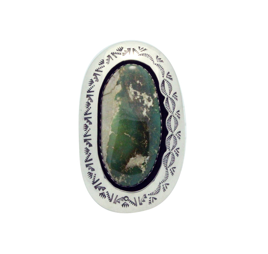Teddy Goodluck, Ring, Royston Turquoise, Shadowbox, Silver, Navajo Handmade, 8.5