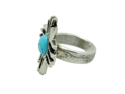 Load image into Gallery viewer, Gary Custer, Ring, Zia Design, Kingman Turquoise, Silver, Navajo Handmade, 8