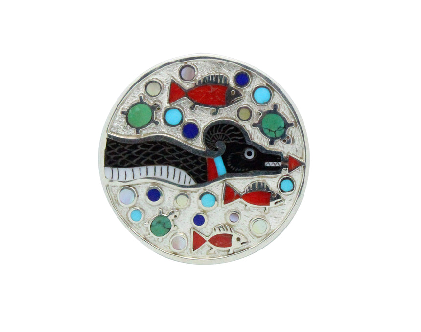 Ruddell, Nancy Laconsello, Pin, Pendant, Serpent, Inlay, Zuni Handmade, 2