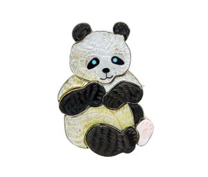 Virgil, Shirley Benn, Pin, Pendant, Panda Bear, Inlay, Tewa Handmade, 2.25