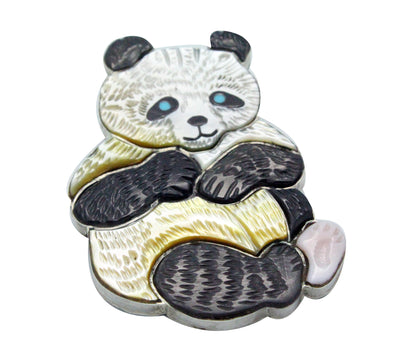 Load image into Gallery viewer, Virgil, Shirley Benn, Pin, Pendant, Panda Bear, Inlay, Tewa Handmade, 2.25