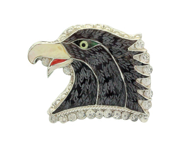 Load image into Gallery viewer, Eldred Martinez, Pin, Pendant, Golden Eagle Head, Inlay, Zuni Handmade, 2