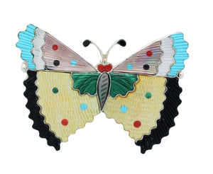 Tamara Pinto, Pin, Pendant, Large, Butterfly, 4 Inches Wide, Zuni Handmade, 3