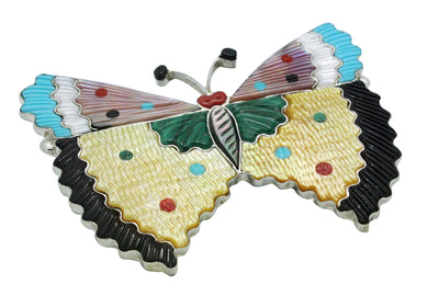 Load image into Gallery viewer, Tamara Pinto, Pin, Pendant, Large, Butterfly, 4 Inches Wide, Zuni Handmade, 3