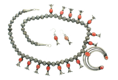 Load image into Gallery viewer, Marie Kurley, Squash Blossom Necklace, Spiny Oyster Shell Red, Navajo Made, 25
