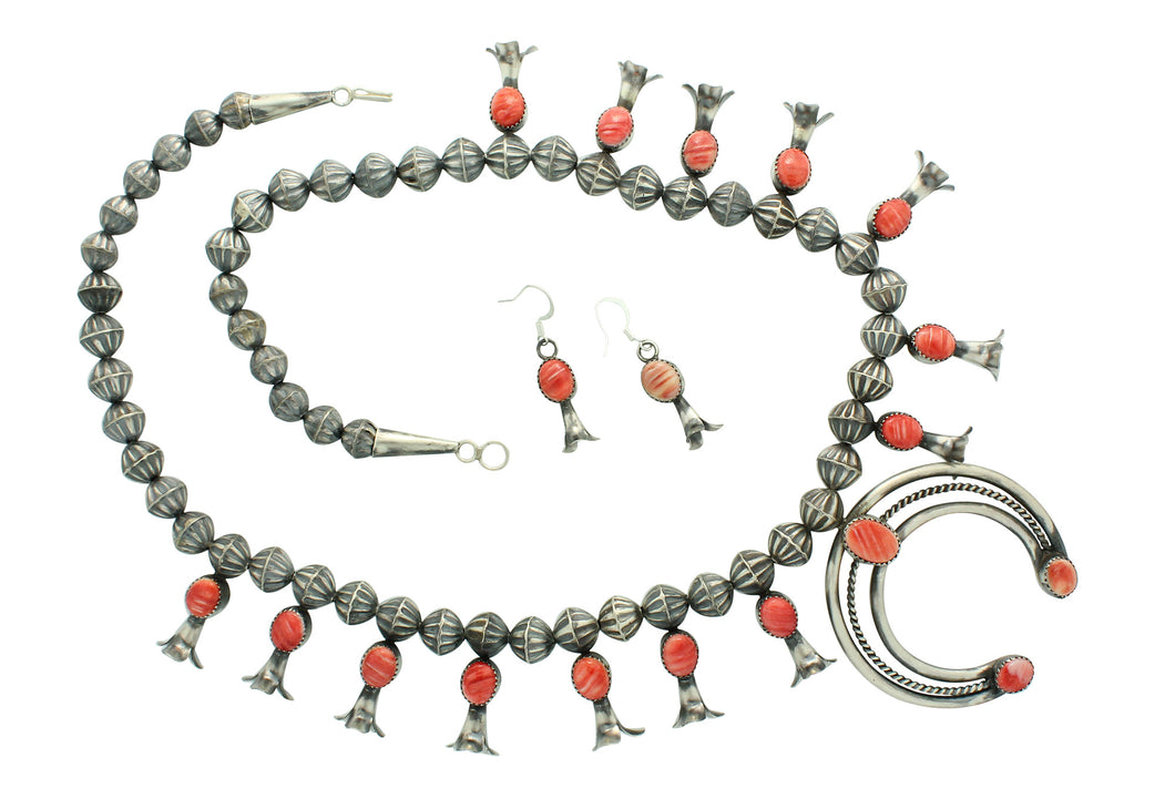 Marie Kurley, Squash Blossom Necklace, Spiny Oyster Shell Red, Navajo Made, 25