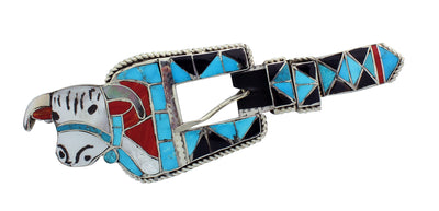 Load image into Gallery viewer, Lincoln Zunie, Ranger Buckle, Cow Design, Inlay, Silver, Zuni Handmade, 1 in