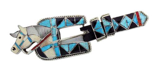 Lincoln Zunie, Ranger Buckle, Horse Head, Multi Stone, Inlay, Zuni Handmade, 2.5