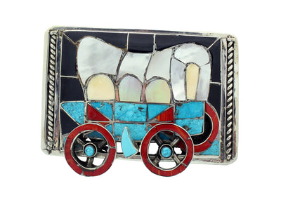 Load image into Gallery viewer, Lincoln Zunie, Buckle, Frontier Wagon, Multi Stone, Inlay, Zuni Handmade, 2.75