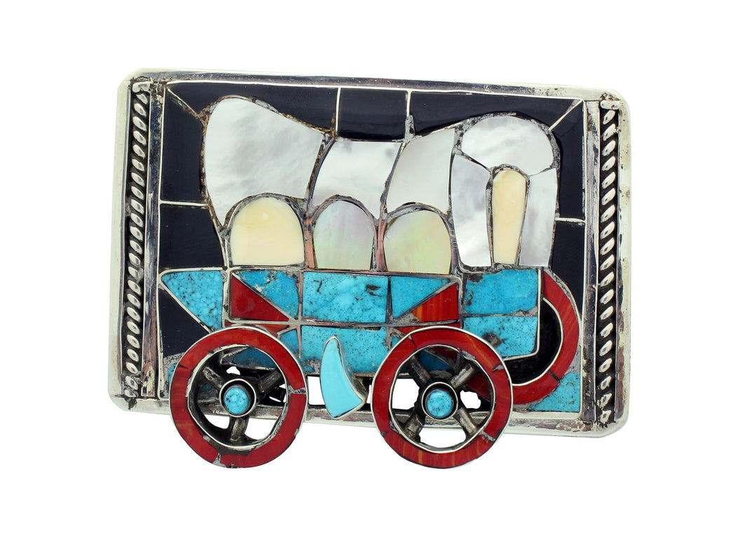 Lincoln Zunie, Buckle, Frontier Wagon, Multi Stone, Inlay, Zuni Handmade, 2.75