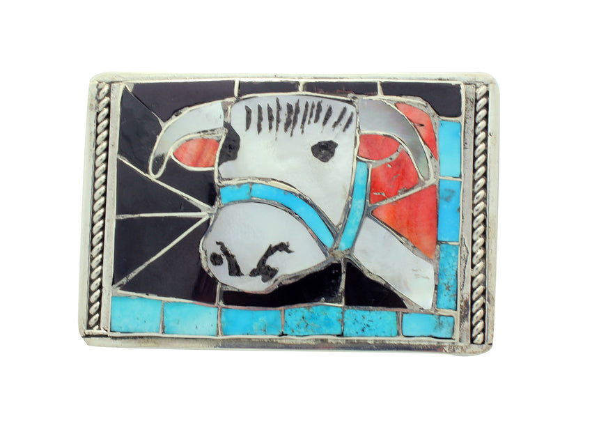 Lincoln Zunie, Buckle, Hereford Steer, Multi Stone, Inlay, Zuni Handmade, 2.75
